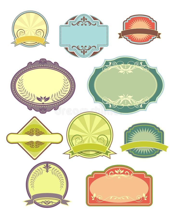 Marcos de la vendimia y conjunto de escritura de la etiqueta 1 stock de ilustración