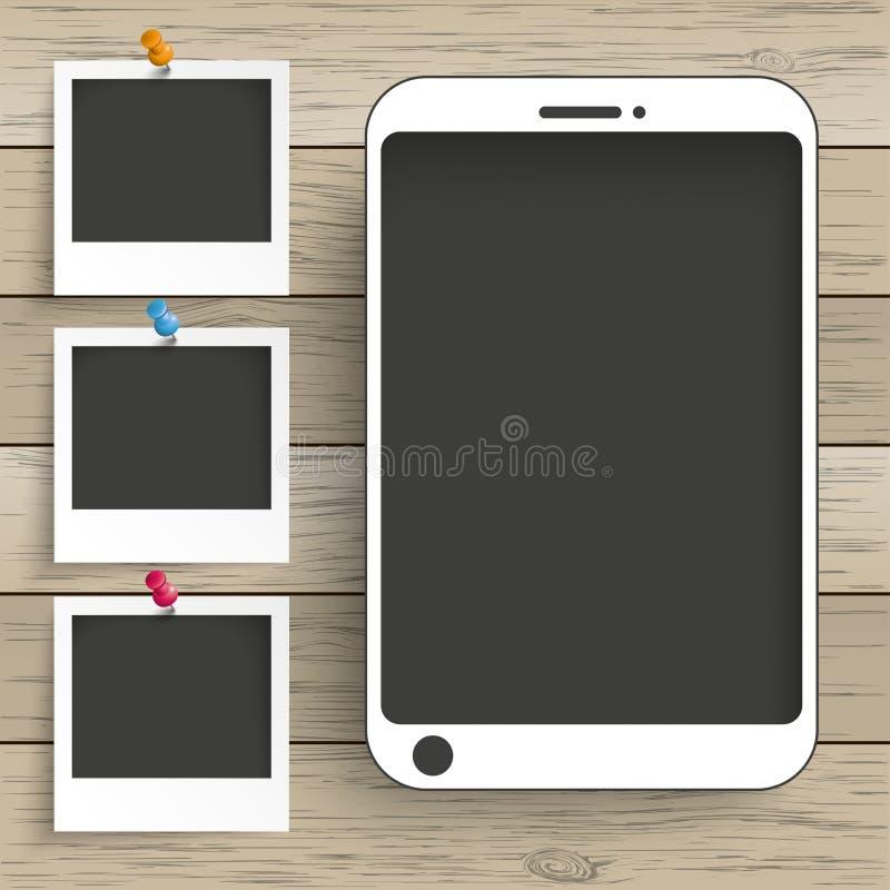Marcos de madera de la foto de Smartphone del fondo ilustración del vector