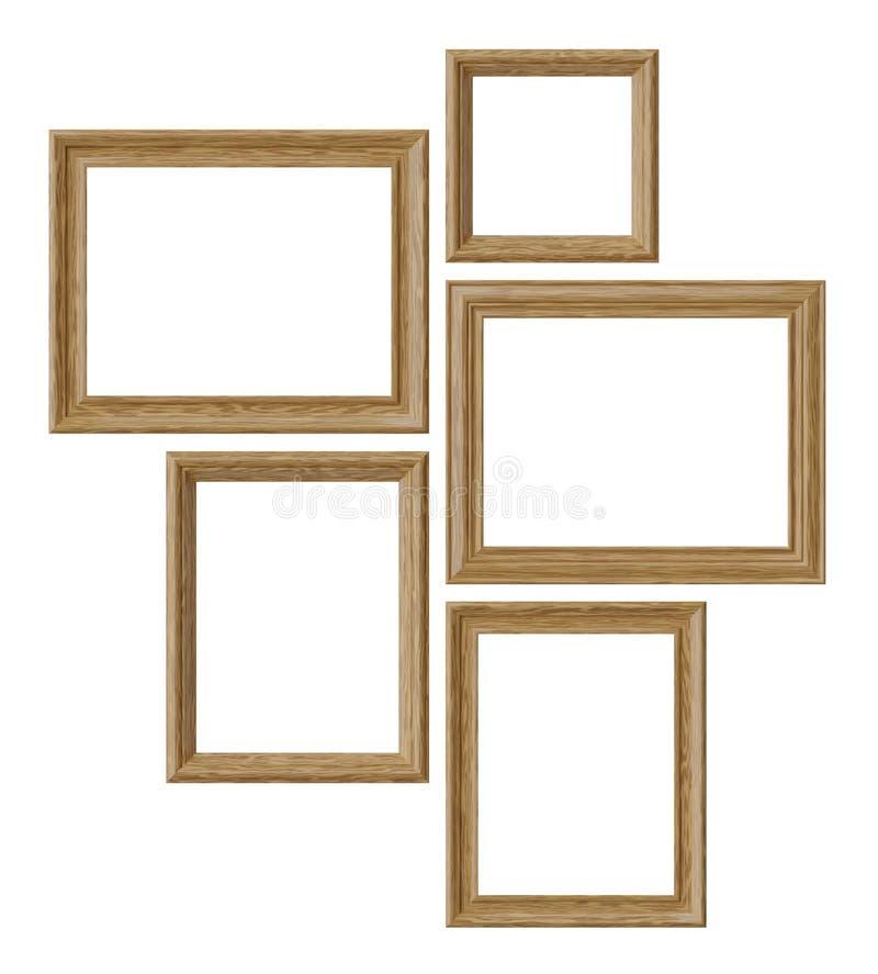 Marcos de madera de la imagen o de la foto aislados en el fondo blanco libre illustration