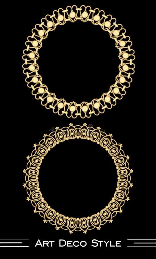Marcos de oro anticuarios elegantes del círculo en el estilo del art déco, ilusión 3d en el ornamento afiligranado libre illustration