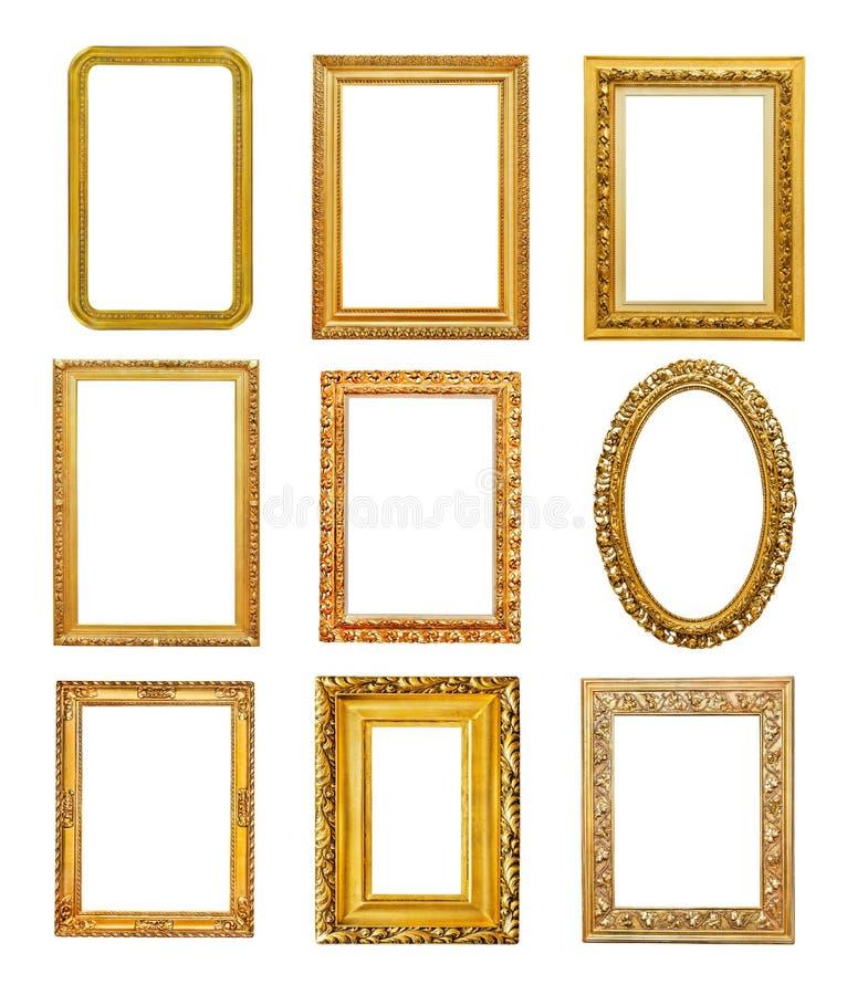 Marcos de oro de diversa forma fotografía de archivo