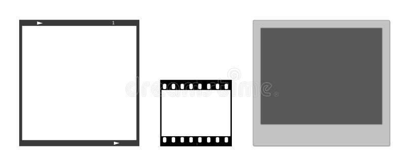 Marcos de película y marco polaroid ilustración del vector