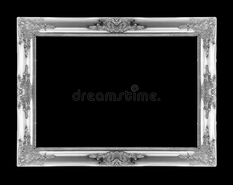 Marcos de plata Aislado en negro imagenes de archivo