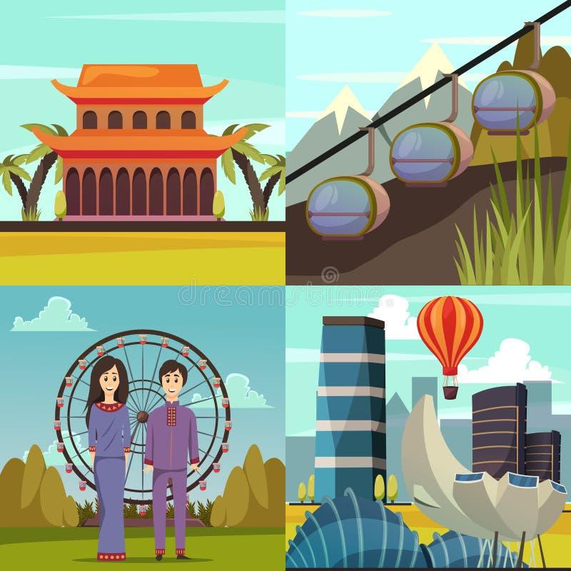 Marcos de Singapura 4 ícones ortogonais ilustração royalty free
