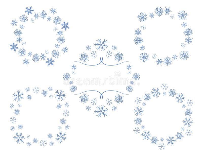 Marcos decorativos del vector con los copos de nieve - sistema ilustración del vector