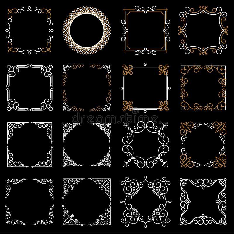 Marcos decorativos determinados del vintage en la mono línea estilo Ejemplo abstracto del vector para su diseño y logotipo Colecc stock de ilustración
