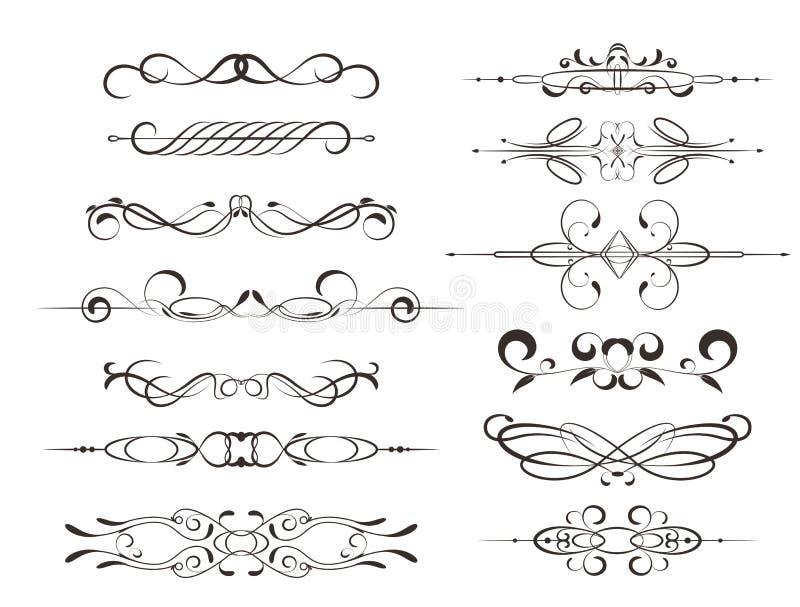 Marcos decorativos, elementos caligráficos del diseño o decoraciones ilustración del vector