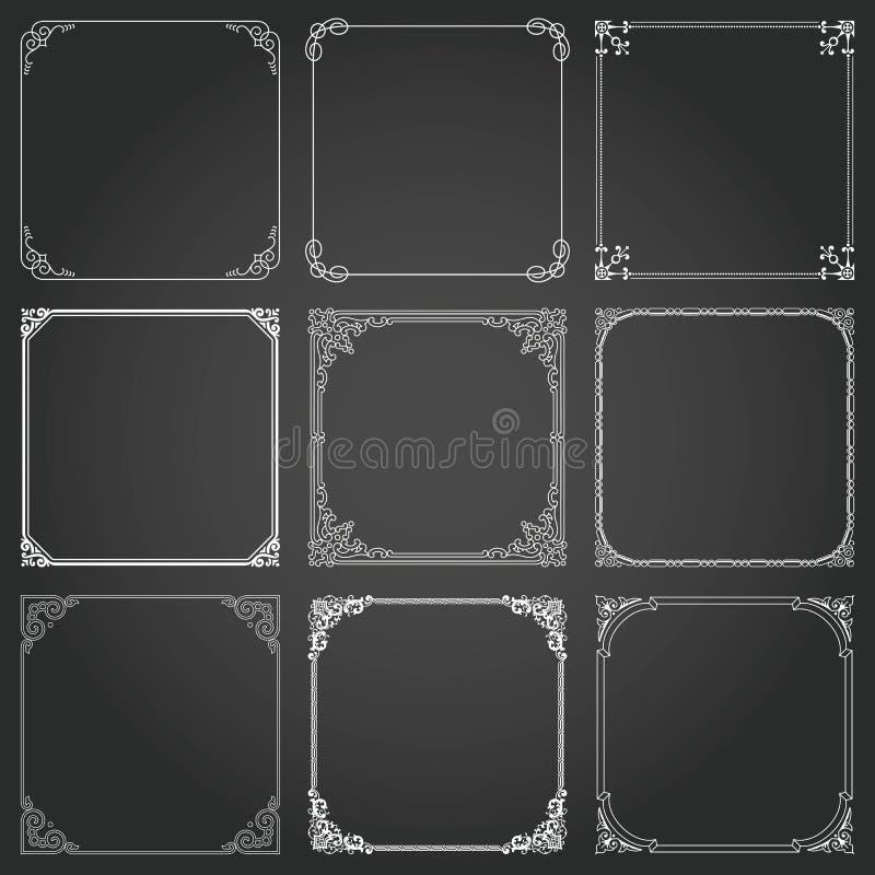 Marcos decorativos y vector determinado del cuadrado de las fronteras stock de ilustración