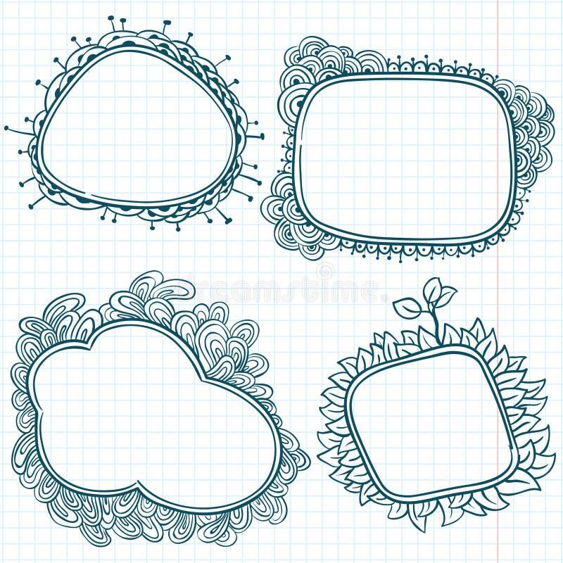 Marcos del Doodle ilustración del vector