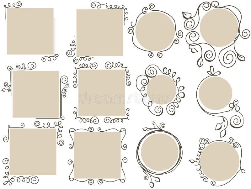 Marcos del Doodle fijados stock de ilustración