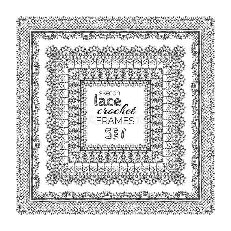 Marcos del ganchillo del cordón del bosquejo del vector fijados stock de ilustración