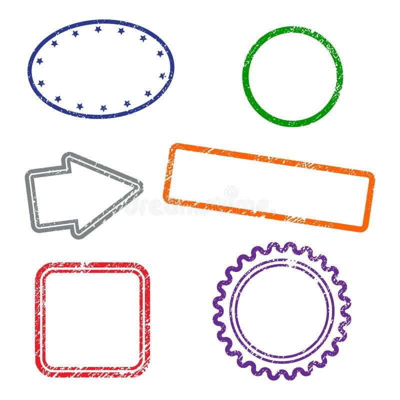 Marcos del grunge de los sellos en el fondo blanco Seis marcos de los sellos Dise?o plano stock de ilustración