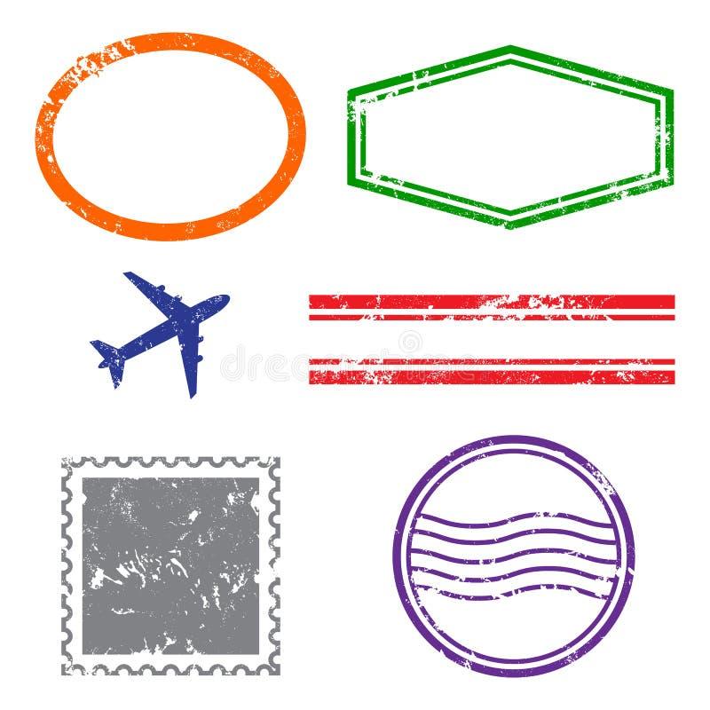 Marcos del grunge de los sellos en el fondo blanco Seis marcos de los sellos para las presentaciones, los aviadores, los prospect libre illustration