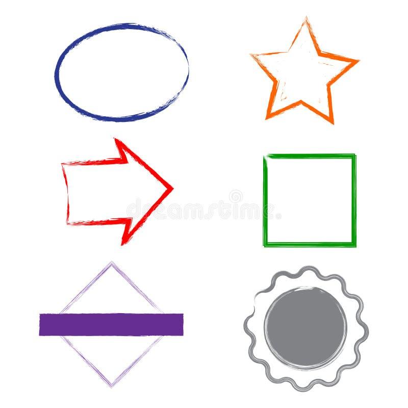 Marcos del grunge de los sellos en el fondo blanco Seis marcos de los sellos para las presentaciones, los aviadores, los prospect stock de ilustración