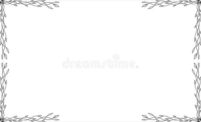 Marcos del narute de la casilla negra, elementos del diseño Mano del bosquejo dibujada Frontera decorativa libre illustration
