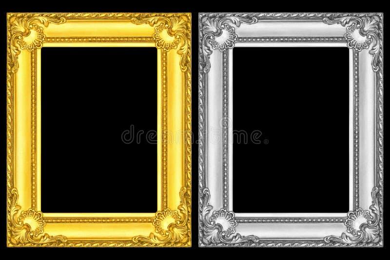 marcos del oro y de la plata aislados en negro imagenes de archivo