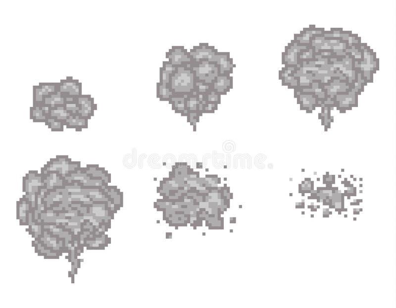 Marcos del vector de la animación del humo del arte del pixel para el diseño de juego libre illustration
