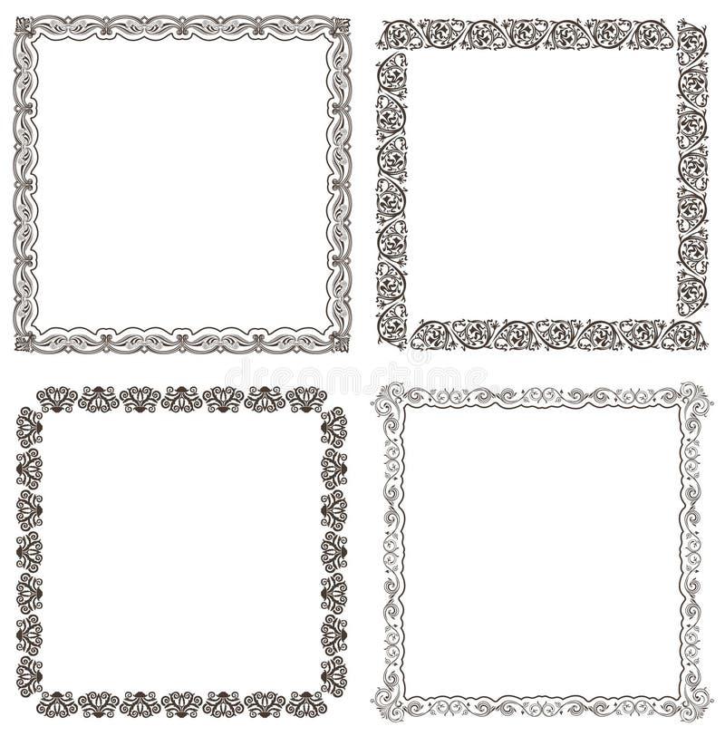 marcos del vector fijados Diseño adornado y del vintage ilustración del vector