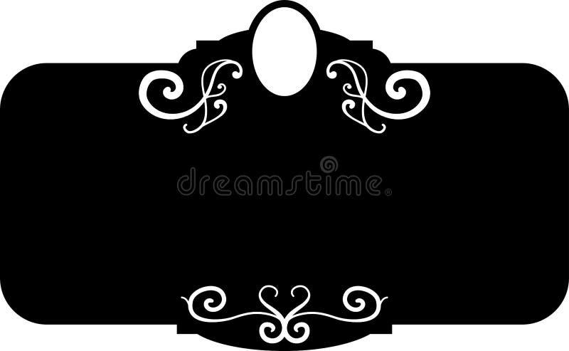 Marcos del vintage de la casilla negra, elementos del diseño Mano del bosquejo dibujada Frontera decorativa stock de ilustración