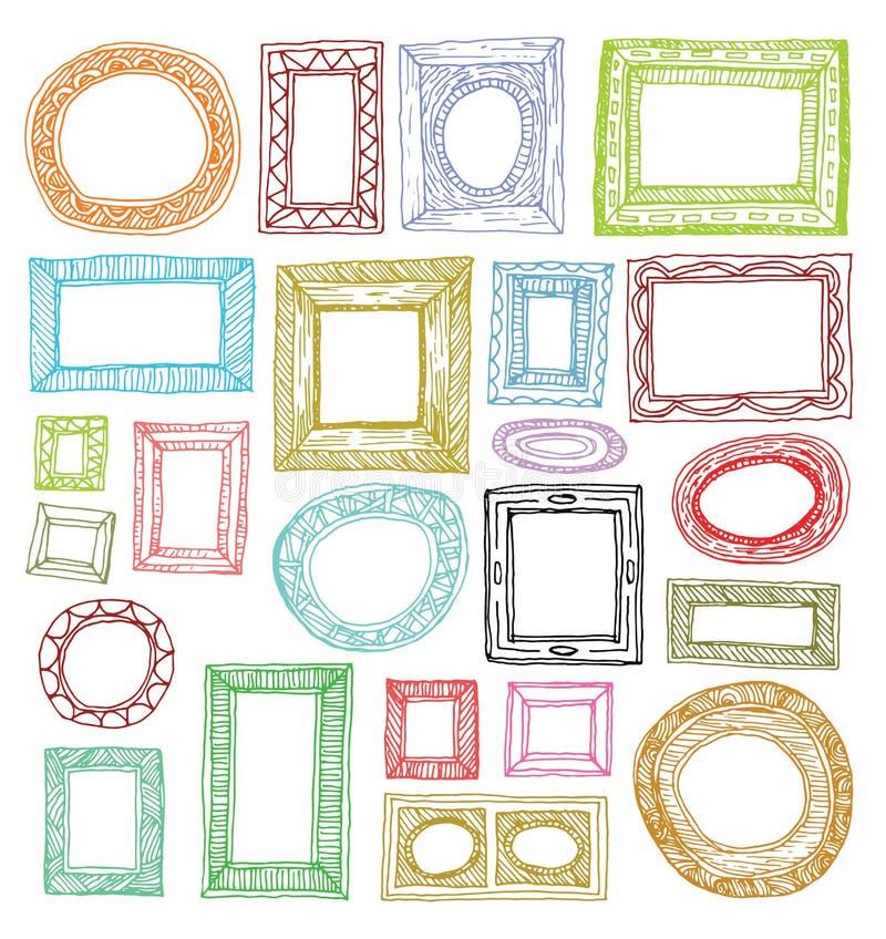 Marcos determinados, ejemplo dibujado mano del vector stock de ilustración