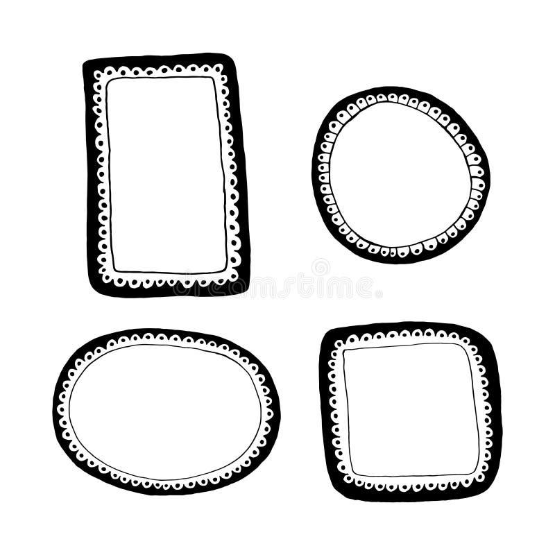 Marcos dibujados mano fijados libre illustration