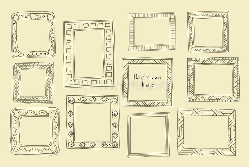Marcos dibujados mano fijados Estilo del Griego de la historieta Divisores del vector, gra ilustración del vector