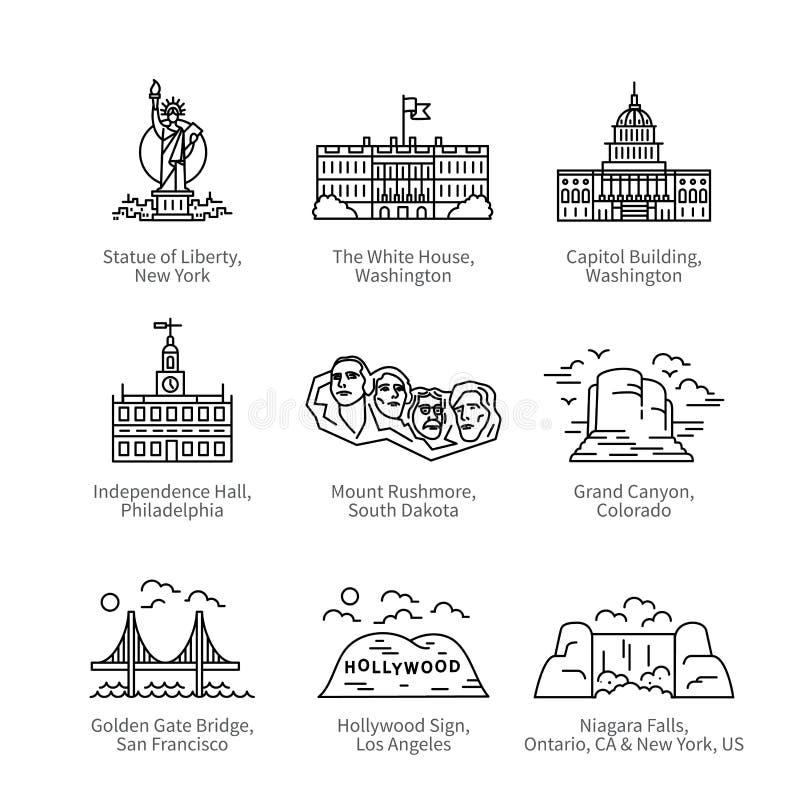 Marcos do curso da cidade do Estados Unidos da América ilustração do vetor