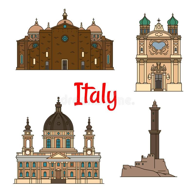 Marcos do curso de Itália, linha fina ícones ilustração stock