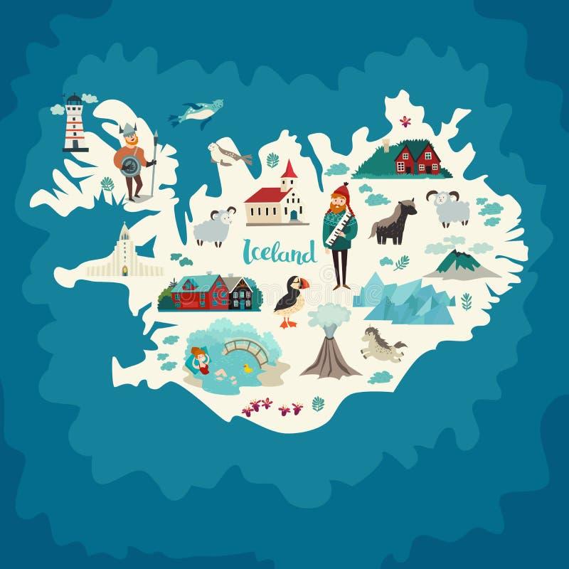 Marcos do mapa de Islândia ilustração royalty free