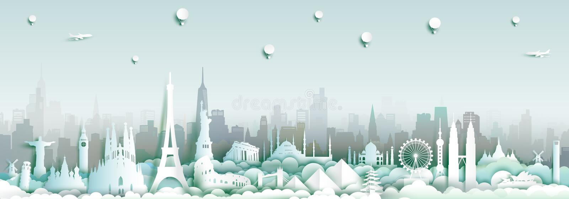 Marcos do mundo com fundo da skyline da cidade ilustração royalty free