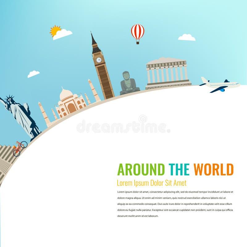 Marcos do mundo Fundo do curso e do turismo Vetor liso ilustração do vetor