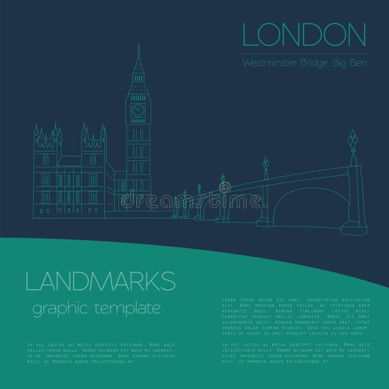 Marcos do mundo Londres Reino Unido Abadia de Westminster ilustração royalty free
