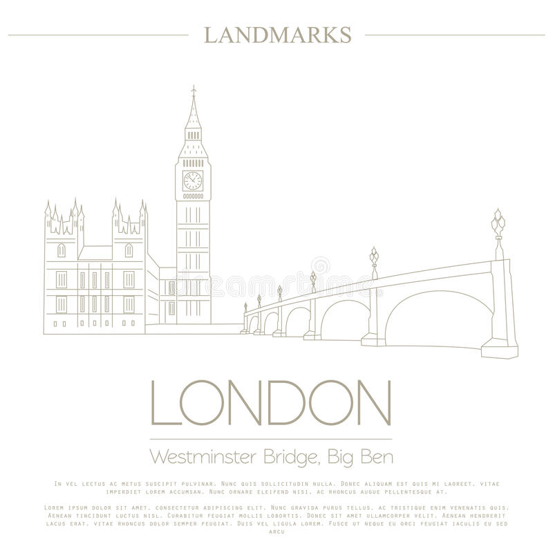 Marcos do mundo Londres Reino Unido Abadia de Westminster, o B ilustração do vetor