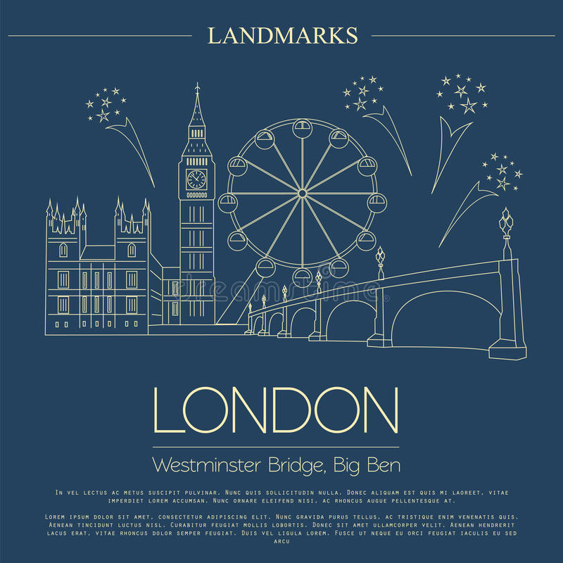 Marcos do mundo Londres Reino Unido Abadia de Westminster, o B ilustração stock