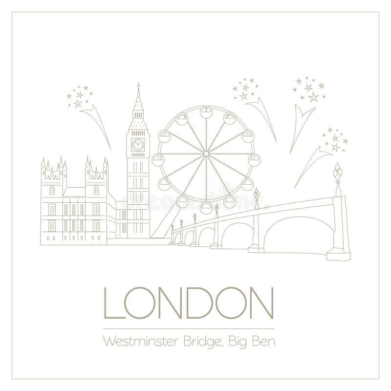 Marcos do mundo Londres Reino Unido Abadia de Westminster, o B ilustração royalty free