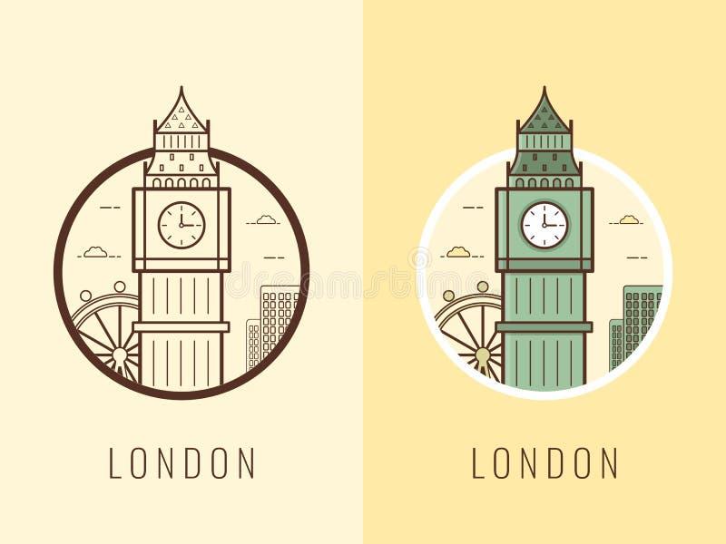 Marcos do mundo Reino Unido Fundo do curso e do turismo Linha ícones Vetor ilustração stock
