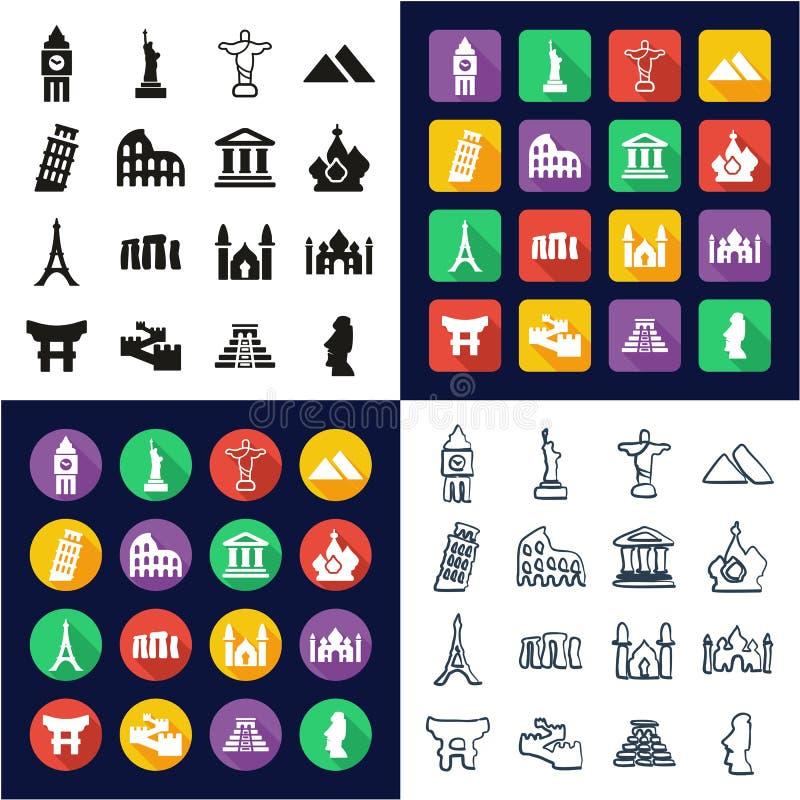 Marcos do mundo todos nos ícones um pretos & no grupo a mão livre do projeto liso branco da cor ilustração stock