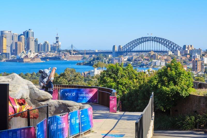 Marcos do porto de Sydney, Austrália, do jardim zoológico de Taronga imagens de stock