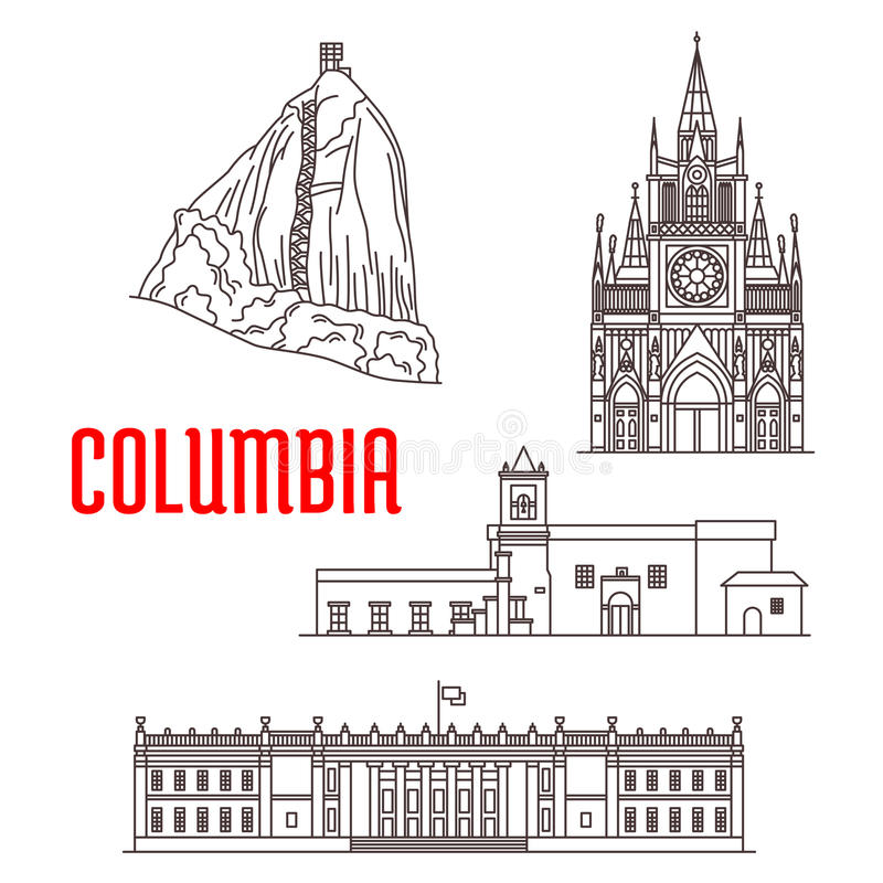 Marcos do turista e arquitetura de Colômbia ilustração royalty free