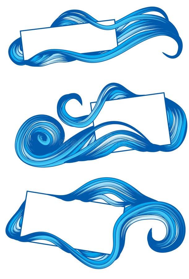 Marcos drenados mano con agua ilustración del vector