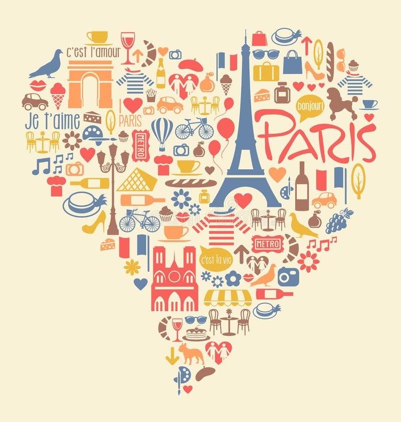 Marcos e atrações dos ícones de Paris França ilustração stock
