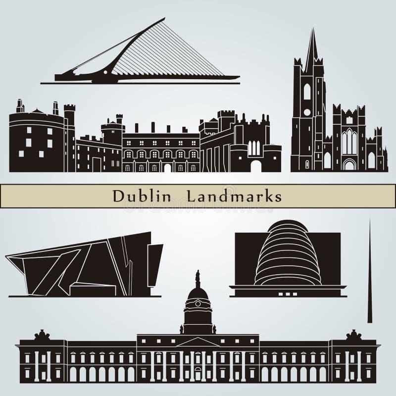 Marcos e monumentos de Dublin ilustração royalty free