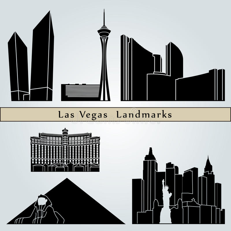 Marcos e monumentos de Las Vegas ilustração stock