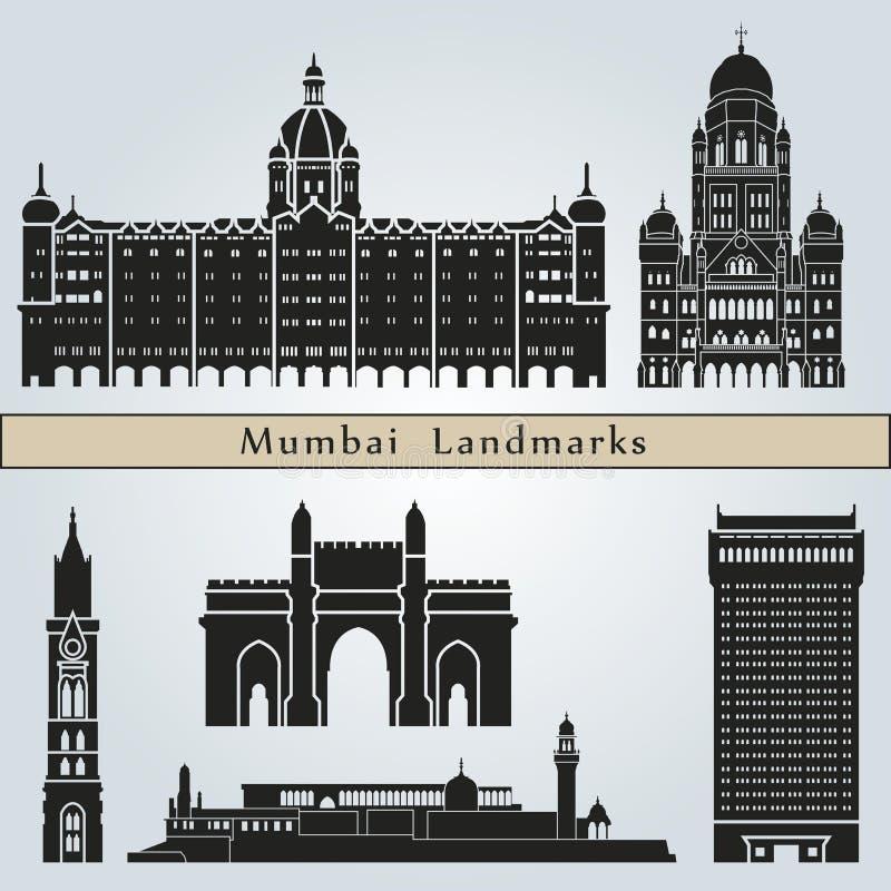 Marcos e monumentos de Mumbai ilustração stock