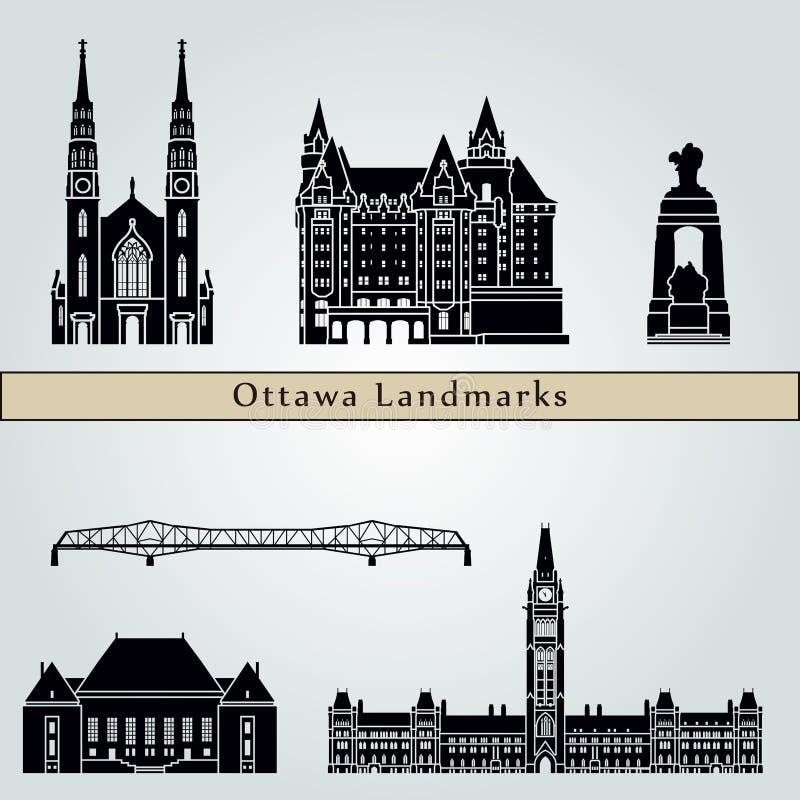 Marcos e monumentos de Ottawa V2 ilustração do vetor
