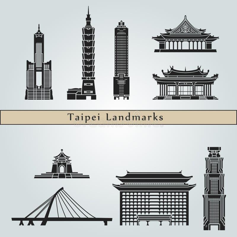 Marcos e monumentos de Taipei ilustração royalty free