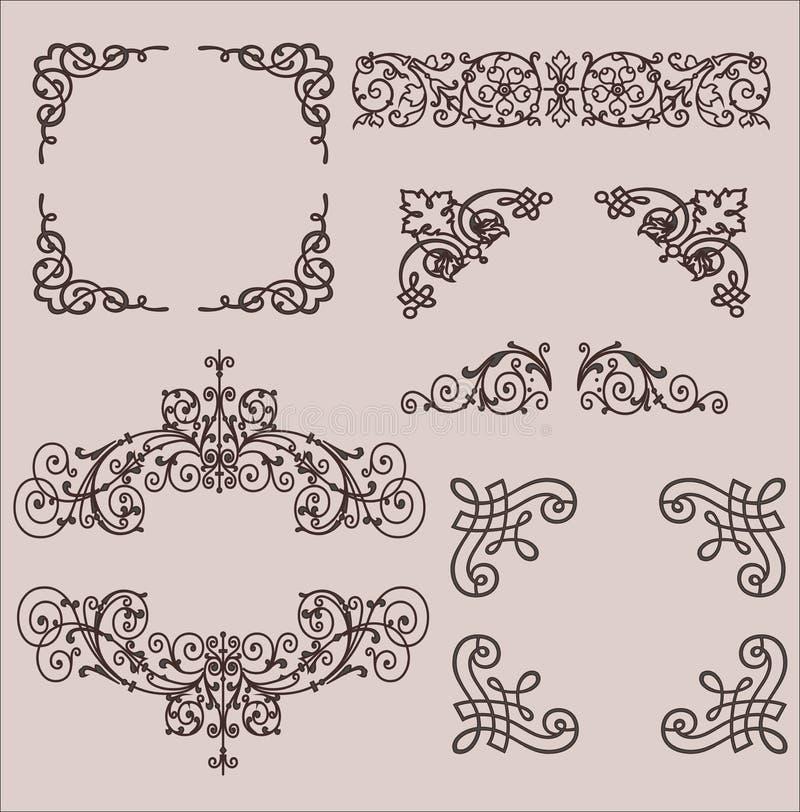 marcos Elementos decorativos Sistema del vector imagenes de archivo