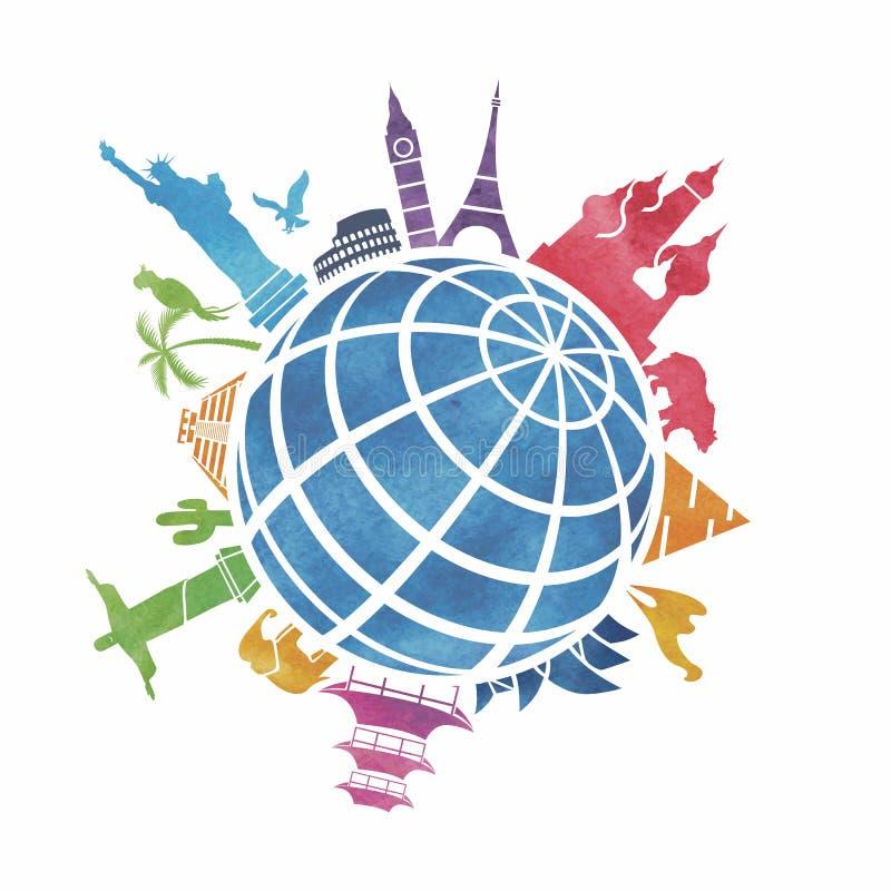Marcos em torno do mundo ilustração do vetor