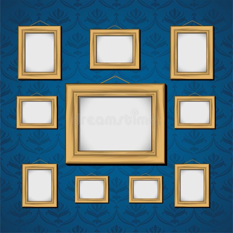 Marcos en la pared azul ilustración del vector. Ilustración de ...