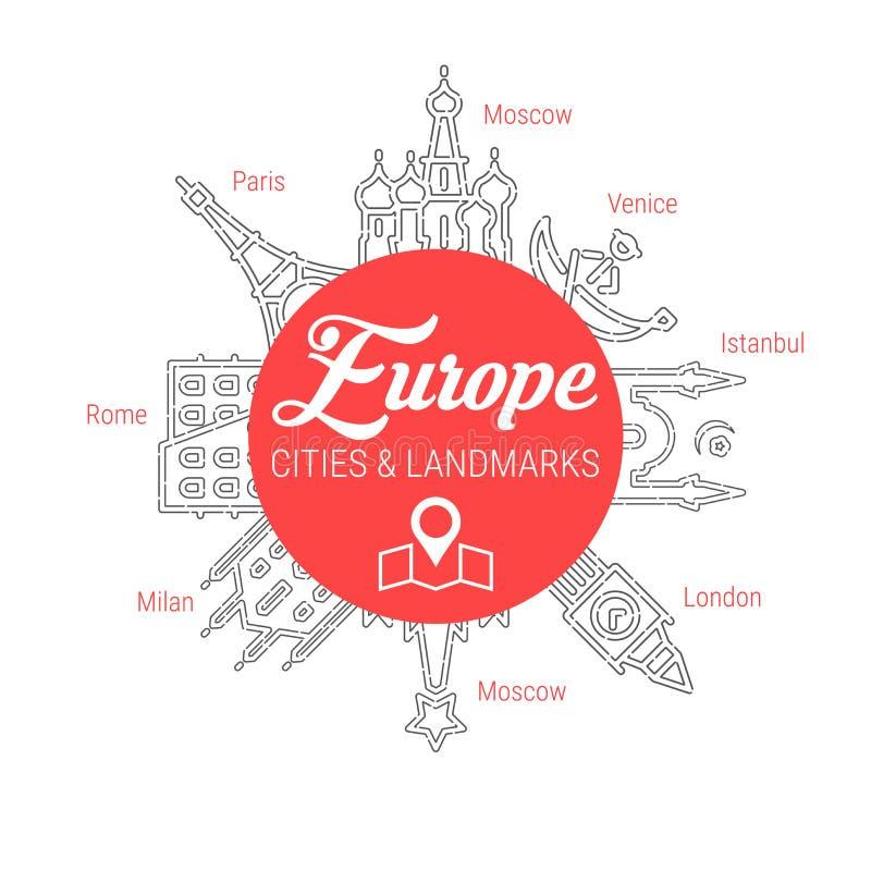Marcos europeus famosos Linha grupo do ícone do vetor ilustração stock